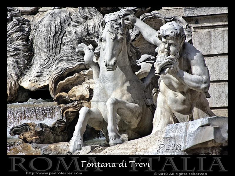 Roma - Fontana di Trevi - Tritón y caballo de mar dócil