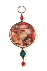 2010 Holiday Collection - Victorian Romance - Santa with Children on Red Snowflace Background Ornament
