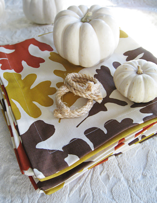 leaf napkins+rope napkin holders+white pumpkins