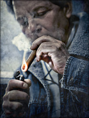 puff (TheWalkinMan) Tags: portrait texture face fire smoke puff cigar flame lighter tobacco