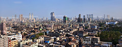Panorama - South Mumbai - India ( Rizwan Mithawala) Tags: city morning bridge blue sky urban panorama india tower glass skyline architecture skyscraper buildings photography town construction industrial cit