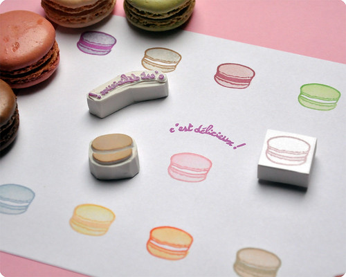 Macarons hand carved rubber stamps