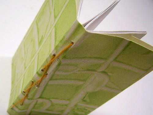 paste paper, lattice stitch, two section