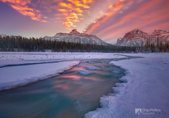 Athabasca River Sunset#2 (Chip Phillips) Tags: park pink winter sunset snow canada mountains ice river jasper rocky national alberta icy athabasca mywinners thepowerofnow