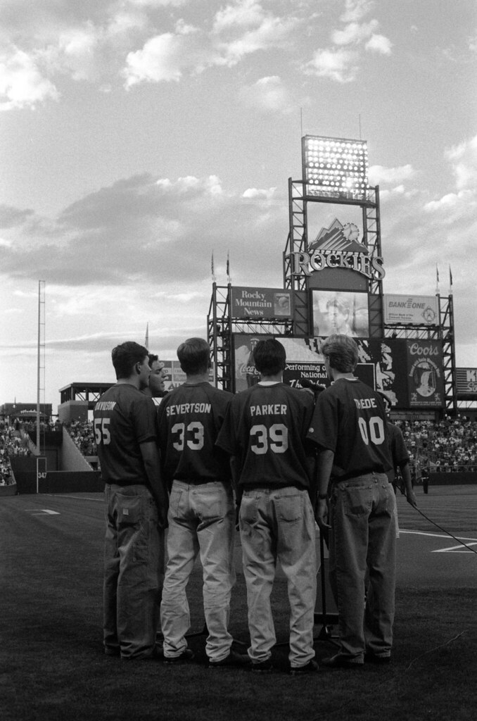 1997 08 Thede - TOSOS at Coors Field - 11 Mike Davidson, Rudy Cardenas, Scott Severtson, Jake Parker, and Adam Thede