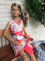 Coffee Break (Foxy Belle) Tags: barbie petite chef baker made move coffee dress summer outside plant wall patio