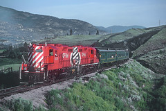 Okanagan Express CP 8836 and 8839 Near West Summerland, BC on May 23, 1983 (railfan 44) Tags: canadianpacific