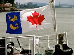 maple leaf with dolphins (Szymek S.) Tags: flag canadianflag mapleleaf canadiancoastguard bow forecastle ship ccgsvector westvancouver canada lowermainland englishbay britishcolumbia