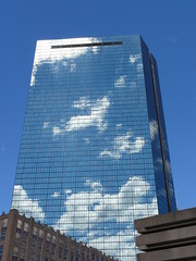 Mirrored Sky (brooksbos) Tags: city travel blue light summer sky urban reflection building weather boston skyline architecture clouds buildings reflections geotagged ma photography photo day cityscape newengland clear reflected hancock bostonma pei backbay hancocktower bostonist masschusetts