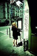 Paris, rue du Faubourg Saint Antoine (Calinore) Tags: street city woman paris france menu lomo lomography legs femme tags blond crossprocessing romeo sortie exit rue provia vivitar ville jambes argentique graffitis ruedufaubourgsaintantoine lomographie traitementcrois traitementcroise passageduchevalblanc xiemearrondissement restaurantcoreen coreanrestaurant slimangel
