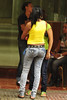 Yellow T-Shirt and Tight Jeans 2010 07 12 Calle El Conde - 576 (vinylmeister) Tags: blue girls people woman colors fashion yellow female photography dominicanrepublic july jeans dominicana denim behind brands republicadominicana santodomingo 2010 photocamera photograpy zonacolonial chicalatina calleelconde nikond700 nikonafnikkor85mmf14dif joliefilles citiesplaceslocation yearphototaken