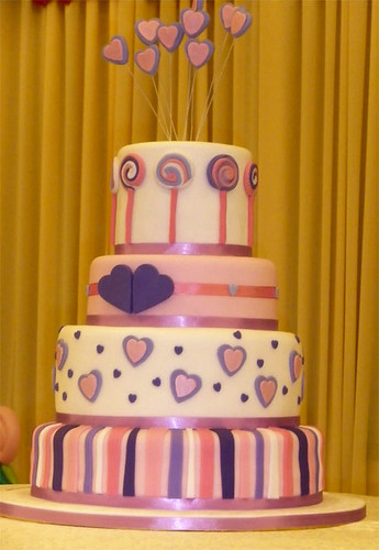 pink and white zebra cake. Lollipop Heart Wedding Cake