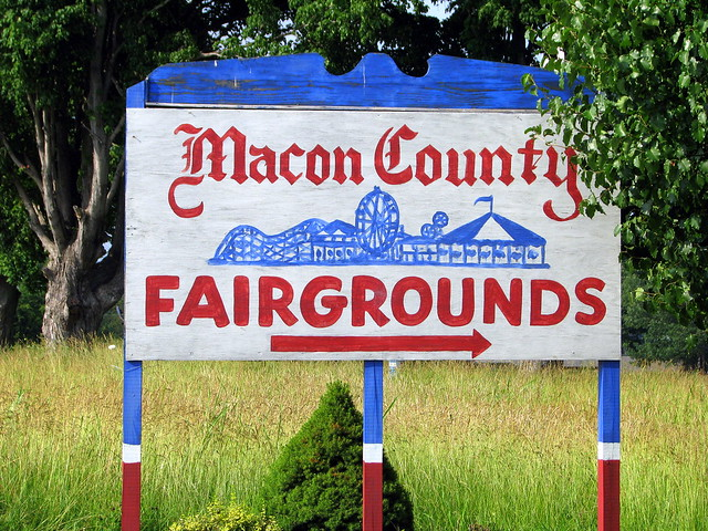 Macon County Fairgrounds sign