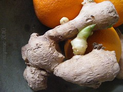 Ginger root and three Oranges