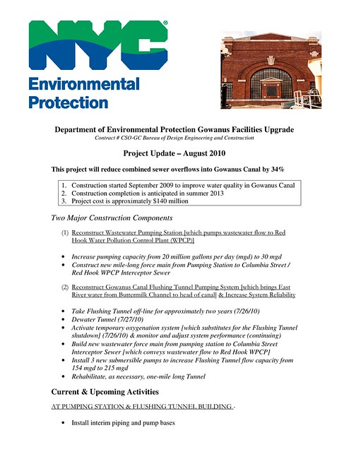2010-08 DEP Gowanus Facility Upgrade Update