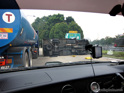 Over-turned Lorry