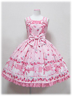 Ap cherry berry bunny jsk pink