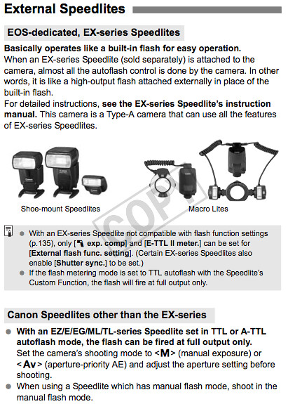 Camera settings and how to use Canon flash units with the 60D, as documented on page 148 of the Canon 60D Manual