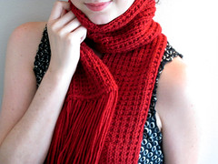 red scarf (Carly B. Designs) Tags: red chicago men scarf children women handmade unique knit fringed etsy fashionaccessory