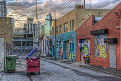 Yarra Place (J-C-M) Tags: street sunset streetart building art clouds photoshop painting graffiti evening construction nikon paint crane laneway d200 hdr rialto topaz rubbishbin photomatix stali yarraplace