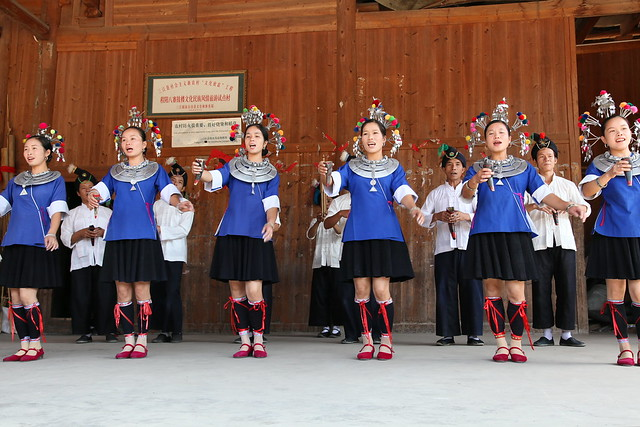 Dong ethnic culture show in Chengyang, Guangxi, China