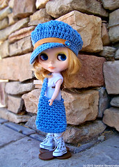 Newsboy Hat and Hobo Bag in Blue