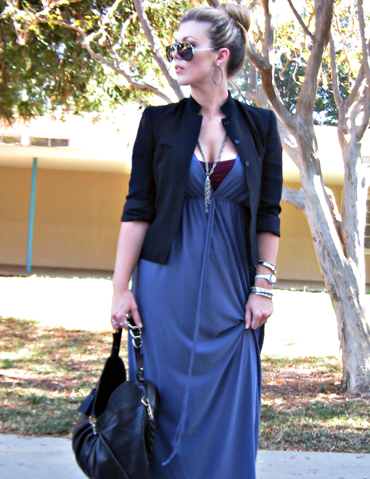 long dress and cropped blazer+ferragamo bag+ray ban aviators+silver accessories