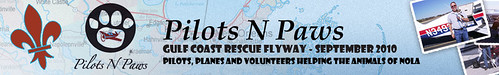 Pilots N Paws banner advertising the Gulf Coast Rescue Flyway
