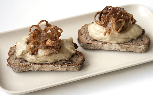 Roasted Eggplant, Mascarpone, and Crispy Shallot Tartines