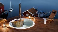 Skärgårdstunnan Terrass - Nedsänkbar badtunna i plast (Skärgårdstunnan) Tags: pool jacuzzi hottub spa trädgård badtunna uteplats badtunnor spabad bubbelpool vedeldad utomhusbad