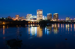 Richmond Skyline from Belle Isle Pedestrian Bridge at Night (Ty Johnson Photography) Tags: city bridge urban reflection water night buildings landscape manchester lights outdoor richmond rva d90