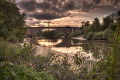 Grosvenor Bridge on a September Evening 1 (Mark Carline) Tags: camera colour digital canon eos cheshire chester dslr ff hdr grosvenorbridge 5dmarkii 5d2 5dmkii 5dmk2 5dmark2 gupr