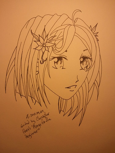 Manga Girl 3/4 View - Ink