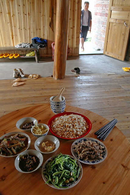 Breakfast of the guest house in Chengyang, Guangxi, China