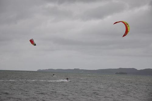 The boys kitesurfing at Snells