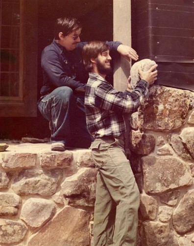 Image of Jeff Behringer on his first large traditional stone masonry project in 1973