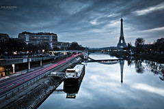 Like a blue morning, out of time... (Marc Benslahdine) Tags: bridge paris france cars architecture reflections lights cityscape nightlights lumire explorer eiffeltower trails gasstation explore marc pont pniche amateur frontpage nuit reflets 75015 franais voitures feux lightroom fil 15me toureifel laseine quaideseine longexp longexposition expositionlongue poselongue explored stationessence tamronspaf1750mmf28xrdiii canoneos50d baladeparisienne marcopix immeube benslahdine tripax marcbenslahdine baladesparisiennes feuxderoute carstrails wwwmarcopixcom wwwfacebookcommarcopix marcopixcom