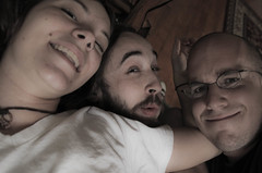 In Bed with Kyle and Candi (Doug Schwarz) Tags: morning boy girl bed candid awake asleep wakeup