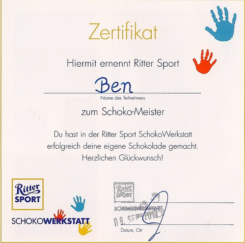 Zertifikat der Mobilen Schokowerkstatt