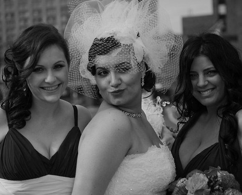 Bridal Styles bride Tonia in her modern pouf and French net blusher