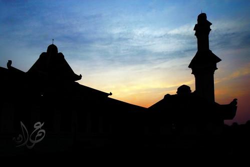 Silhouette of Masjid Al-Azim, Solok, Bukit Peringgit, Melaka during sunrise