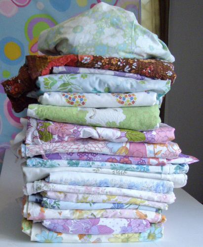 The Leaning Tower of Vintage Sheet goodness