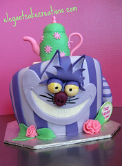 Cheshire Cat Birthday Cake (Elegant Cake Creations AZ) Tags: birthday arizona cake stripes explore teapot wonky teaparty whimsical aliceinwonderland topsyturvy cheshirecat elegantcakecreationscom
