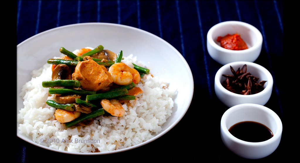 Salmon and Prawn Red Thai Curry