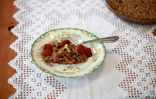 Baked Oatmeal with fresh raspberries and pistachios