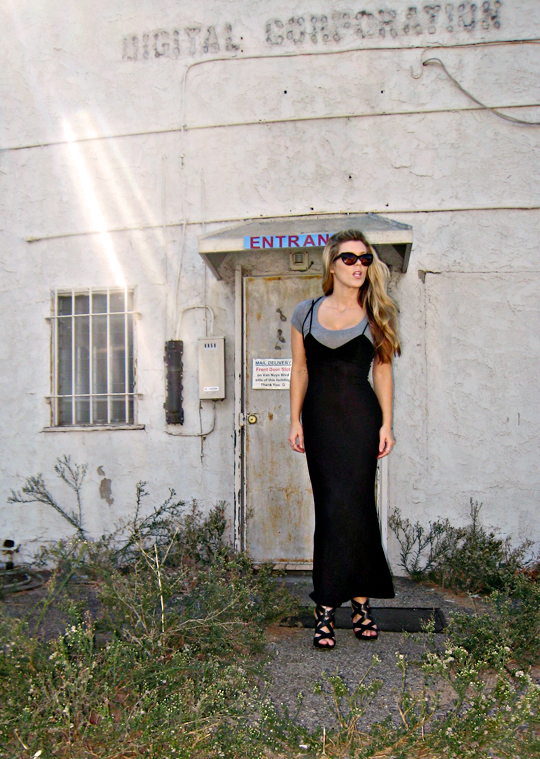 90s long black dress and strappy wedges+tom ford sunnies+filter