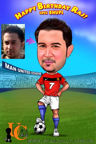 Customized Caricature Man United Soccer Fan Drawing