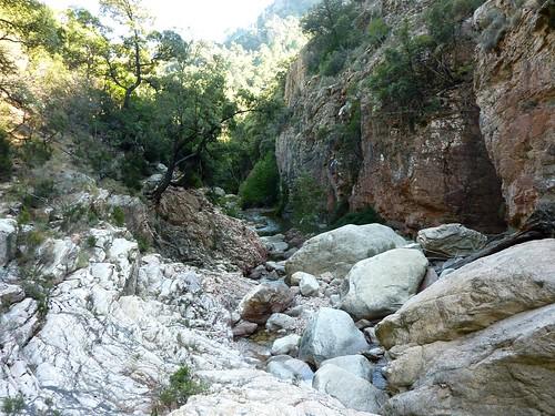 Entre la triple vasque-cascade et la confluence Calva : fin du bief contourné par la RG