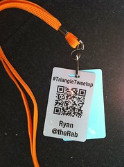 Triangle Tweetup badge with QR Code from April 2009