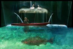 Funky Fountain Fish (lunamom58) Tags: fish water fountain photoshop swan kayak digitalart creativecommons trout rubystreasures